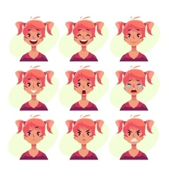 Red-haired girl with ponytails face expression vector image