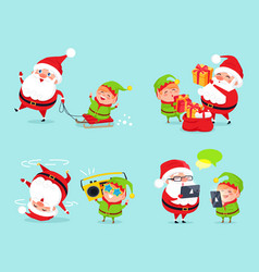 santa claus and elf adventures vector image