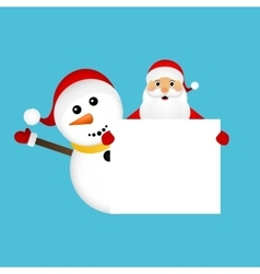 Santa Claus and snowman with white blank vector image vector image