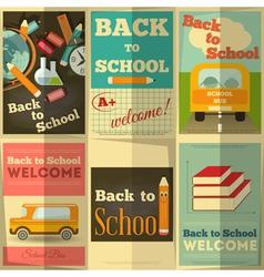 School posters set vector