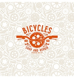 Seamless pattern and bike shop label vector