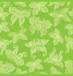 Seamless pattern with ornate butterflies vector