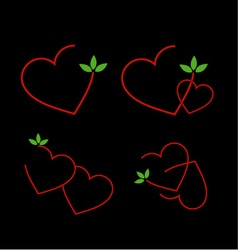 Set of logos with red hearts and green leaves vector