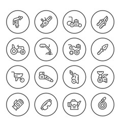 Set round line icons of garden equipment vector