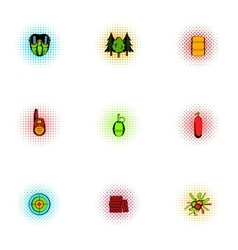 Shooting paintball icons set pop-art style vector image vector image