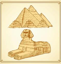Sketch egyptian symbols vector