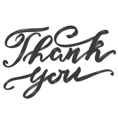 Thank you text on white background hand drawn vector