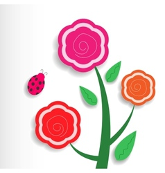 Three flowers vector image