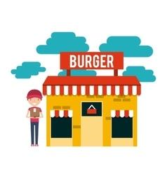 burger building restaurant menu vector image