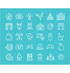 Set flat line icons france and paris vector
