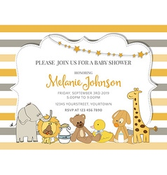 Pretty frame on color lines for baby shower vector image