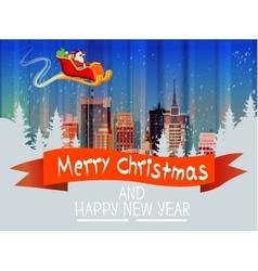 Santa claus sleigh reindeer fly sky over city vector