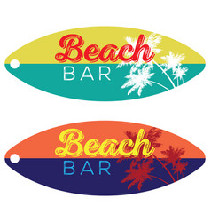 beach bar surfboard vector image