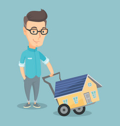 adult smiling man buying house vector image