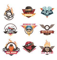 real biker emblems collection vector image