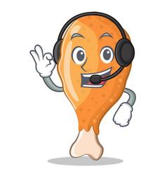 With headphone fried chicken character cartoon vector