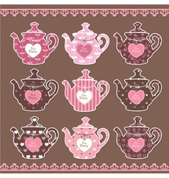 Set of vintage teapots vector image