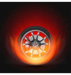 Car wheel on fire vector