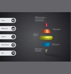 3d infographic template with two spike cone vector image