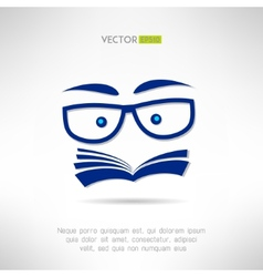 Book face with glasses icon learning and reading vector