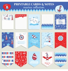 Nautical sea card set vector