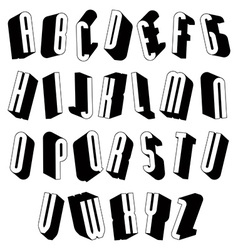Black and white 3d font vector image