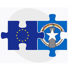 European union and northern mariana islands flags vector