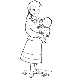 mother with cute baby vector image