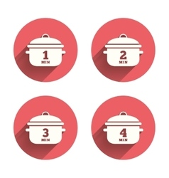 Cooking pan icons boil one four minutes vector