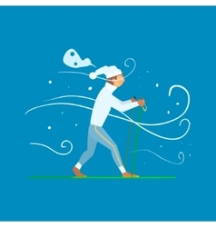 Man skiing with sticks vector