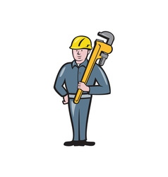 Plumber holding wrench isolated cartoon vector
