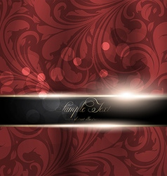 Seamless red floral spring wallpaper with banner vector