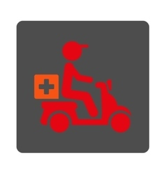 Drugs motorbike shipment flat button vector