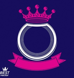 Ring with 3d imperial crown and festive ribbon vector
