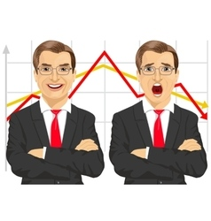 Businessmen with line graphs vector