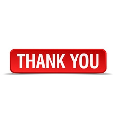 Thank you red 3d square button isolated on white vector