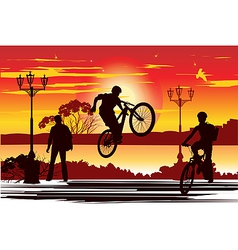 Jump rider at sunset vector