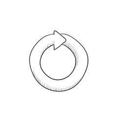 Circular arrow sketch icon vector