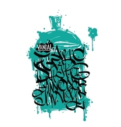 Font graffiti grunge and cans vector image