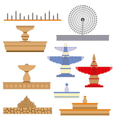 Architecture fountain set image vector
