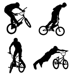 bmx cyclist silhouettes vector image