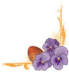 border with violet pansies and egg vector image
