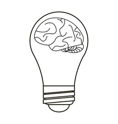 Brain idea bulb concept outline vector