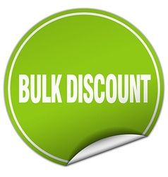 Bulk discount round green sticker isolated on vector