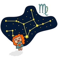Cartoon Zodiac Virgo with a rectangular face vector image