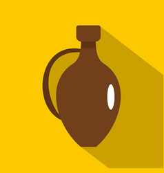 clay wine jug icon flat style vector image