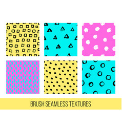 Colorful set of seamless free hand doodle vector