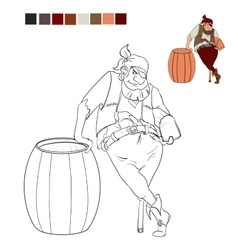 Coloring book pirate who holds a treasure chest vector image