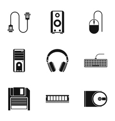 Computer icons set simple style vector
