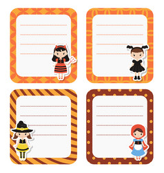 Cute cards or stickers with cartoon children in vector